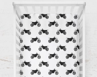 Crib Sheet Motocross Dirt Bike Balke White Motorcycle Baby Toddelr Boy or Girl