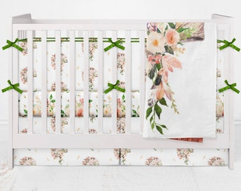 Crib Bedding Cactus Boho Headdress Aztec Flowers Tribal Feathers She is Fierce Baby Girl Crib Bedding Tribal Peach Pink Green White