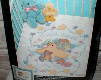 Dimensions Stamped Cross Stitch Kit Twinkle Twinkle Quilt *1997 Sealed In Package* Sweet Baby Gift!