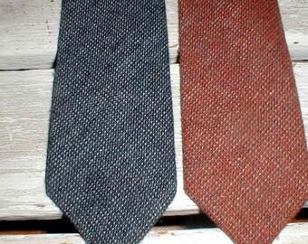 Two Wembley Woolcrofter Neckties *Shades of Brown & Blue* Nice Winter Ties