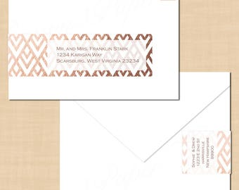 Rose Gold Metallic Foil-inspired Geometric Wrap-Around Address Labels: Text-Editable in Word®, Printable on Avery® 80506, Instant Download