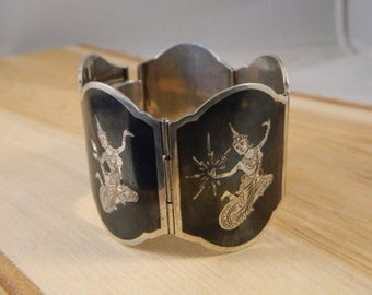 Vintage Siam Sterling Silver Bracelet, Siam Thailand Niello Gods and Goddess Dancer Link Bracelet, Vintage Siam Thai Nakon Gods Jewelry