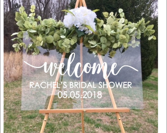 Bridal Shower Decal Sign for Wedding Shower Personalized Wedding Shower Vinyl Decal Name and Date Rustic Simple Wedding Understated