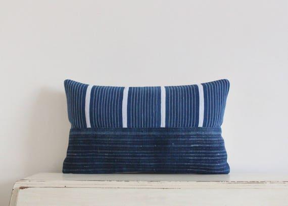 "Vintage batik and African Baule strip cloth pillow / cushion cover 12"" x 20"""