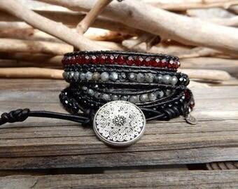 Black Stone Bracelet. Magic Stone Jewelry.  Leather Wrap. Healing Energy. Healing Crystal. Positive Energy Bracelet. Anti Stress Bracelet