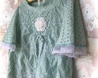 Dreamy  French Blue  Lace Winged Top Charming Marie Antoinette Beauty