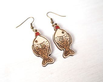 Soy Sauce Fish Bottle Earrings, Kawaii Japanese Food, Laser Cut Plywood Jewellery