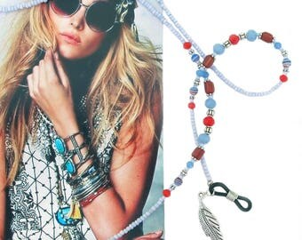 EYEWEAR HOLDER, Cheap Shipping, blue silver and red, beaded glasses chain, glasses chain, sunglass chain, eyewear holder, boho, southwest