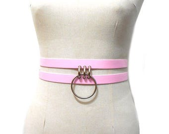 Cavus Belt. Pink Harness Ring Waist Belt