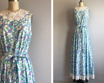 Vintage 60s Lilly Pulitzer Dress /  1960s Mod Floral Print Maxi Dress Sundress with White Cotton Lace/ The Lilly Turquoise Lavender