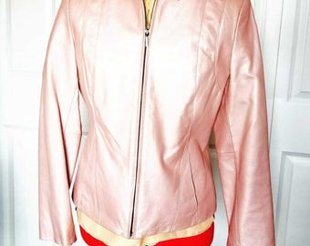 Vintage Pink Leather Jacket Size Small