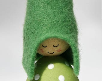 Green Spots Cornish Pixie Elf Wooden decoration
