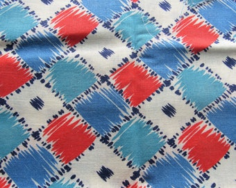 vintage FULL feed sack fabric -- blue, red and turquoise geometric print