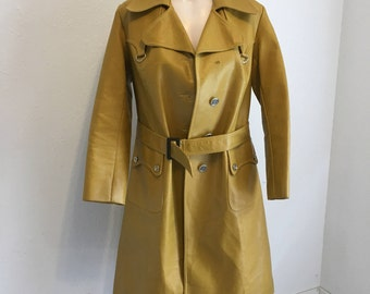 """Vintage Yellow Trench Coat, Vintage """"Leather"""" Jacket, P.V.C Trenchcoat. Cosplay, Vintage Outerwear"""