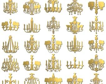 Clip Art - Metallic Gold Foil Chandeliers (28 Digital Scrapbook Elements - PNG) Princess Wedding Royal Invitation Textured Embellishment