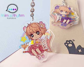 Card Captor Sakura 2 inches double sided Crystal Clear Acrylic straps charm anime CCS, kero