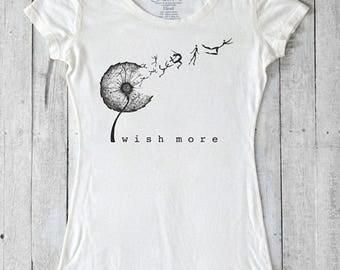 Dandelion Shirt | Women's Organic Clothing | Bamboo T-shirt | Wish Tshirt | Nature T shirt | Eco-friendly Clothing | WISH MORE | Uni-T