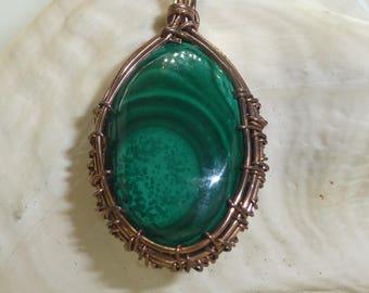 Malachite Wire Wrapped Necklace