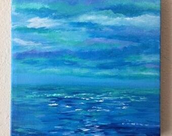 "Seascape 8""x8"" Blue Abstract Ocean Acrylic Painting Canvas"