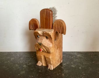 1950s Clothes Brush and Dog Box Container Home Decor Kitchen Dog Memorablia