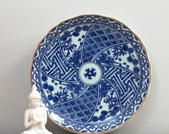 Vintage Blue White Porcelain Dish Plate Tray Chinoiserie Chic