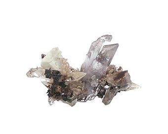 Creedite Very Rare Pale Purple Crystals with quartz and pyrite, mined in Mexico, Geo Specimen for the Expert Crystal and Mineral Collector