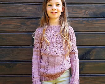 Hand knit GIRLS sweater. MADE to ORDER. Soft baby merino and silk yarn by Rowan. Raglan seamless. Pastel muted dusty pink Old rose lace knit