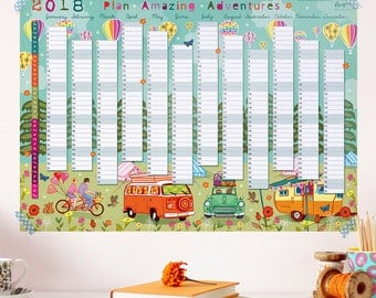 2018 Wall Planner Calendar - Year Wall Planner - Plan Adventures - Holiday Planner - Wall Calendar - Year Planner