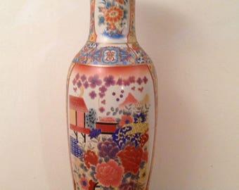 "Vintage 23.5"" Tall Vintage Oriental Porcelain Vase Applied Decoration China Umbrella Stand"