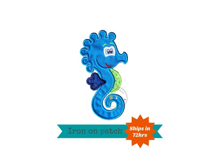 Summer seahorse in bright blue, green and navy iron on applique, nautical summer no sew patch ready to ship