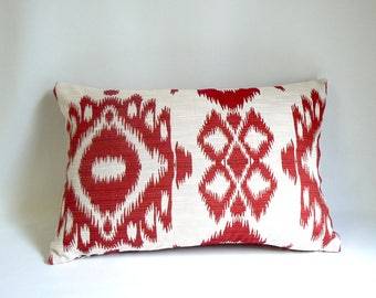 """Red Ikat on White, 14"""" x 18"""" Pillow"""