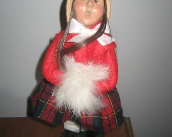 """Byers Choice Caroler - 1996 Rabbit Fur Muff Girl   -9 1/2"""" Tall - Handcrafted in Chalfont, PA - American Made in USA"""