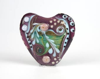 Lampwork Glass Heart Focal Bead