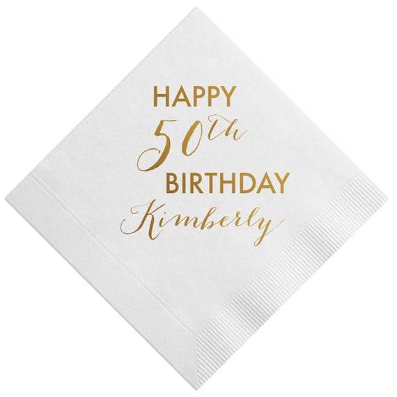 Custom Birthday Napkins, 50th Birthday Napkins, 50th