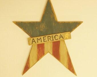 Primitive Americana Star, Wood Stars, Country Farmhouse Decor
