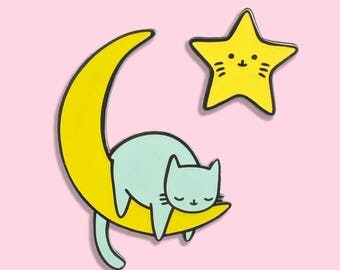 Celestial Kitty Glow In The Dark Pin Set