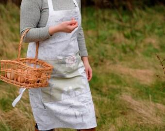 Pattern Apron, Shabby Chic Apron, Country Apron, Apron with Flowers, Gardening Apron, Pretty Apron 100% Cotton, Kitchen Apron, Baking Apron