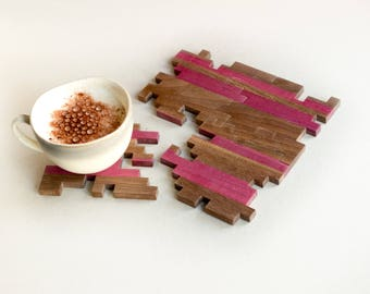 Wooden Coasters - Puzzle Coasters - Walnut - Purpleheart - Geometric - Purple - Brown - Jigsaw - Wood Puzzle - Home Decor - Set of 4