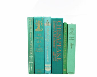 Teal Green Books, Antique Book Set, Ocean Aqua HOme Decor, TUrquoise Book Decor, Old Book Collection,  Instant Library, Gift for book lover