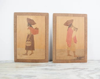 Vintage South American wood inlay hand carved wall hanging (set of 2)