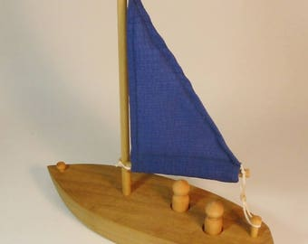 Heirloom-Quality Hardwood Toy Sailboat with Real Sail