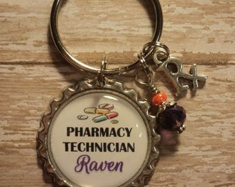 Personalized Pharmacy Technician key chain with charms