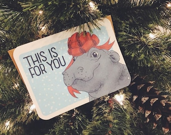 Hippopotamus for Christmas  | Hippo | Holiday Card for Hippo Lovers | Fiona Hippo | Card for friend | Baby Hippo Card | Holiday Hippo