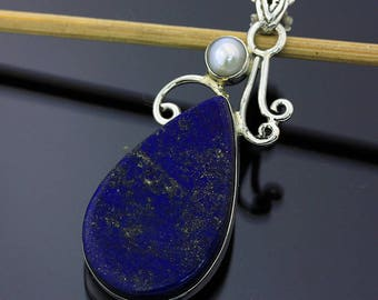 Blue Lapis Lazuli Pearl Handmade Pendant // 925 Sterling Silver // 1 3/4 Inch Pendant Jewelry