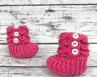 Pink Baby Slippers, 0-6 Months, Crochet Crocodile Baby Slipper Booties, Ready to Ship