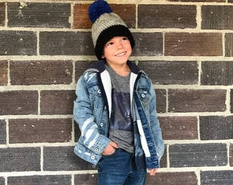 The Frankie Beanie, Kid's Hat, Crochet Hat, Crochet Beanie, Childrens Winter Hat, MADE TO ORDER