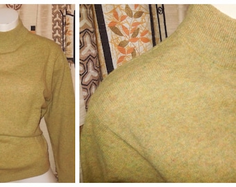 Vintage Wool Sweater 1950s 60s Green Yellow Flecked Sweater Pullover Pulli First Class 100% Lambswool Mod Rockabilly L chest to 42 in
