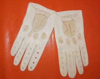 Vintage Driving Gloves 1960s White Leather Driving Gloves Unisex Fine Soft Leather Rockabilly Mod Women's Size 8 Large