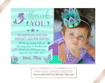Mermaid 1st Birthday Thank you, Under the sea Thank you, Purple Teal Thank you, Mermaid 1st Birthday, Photo thank you card, Printable DIY