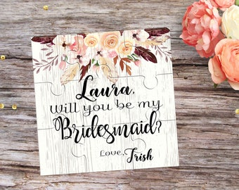 Asking Bridesmaid Puzzle Will You Be My Bridesmaid Proposal Gift Will You be My Flower Girl Puzzle Invitation Will you be My Maid of Honor